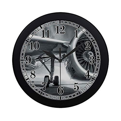 InterestPrint Cool Jet Engine Airplane Theme Modern Quartz Wall Clock Silent Non Ticking Decorative Indoor Kitchen Living Room Round Retro Clock, Black (Jet Airplane Clock)