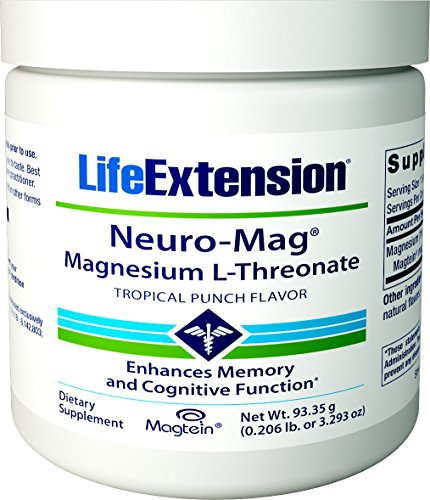 Life Extension Neuro-Mag Magnesium Threonate, Tropical Punch, 3.293 Ounce ()