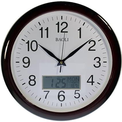 Reloj de pared analógico-digital Color madera Calendario y temperatura. Movimiento continuo, no