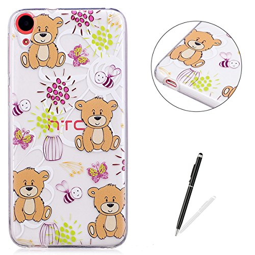 - HTC D820 Clear Case Cover KaseHom Cartoon Brown Bear Print Design Ultra-thin Shockproof Jelly Silicone Skin Shell for HTC D820 + [Free Screen Protector]