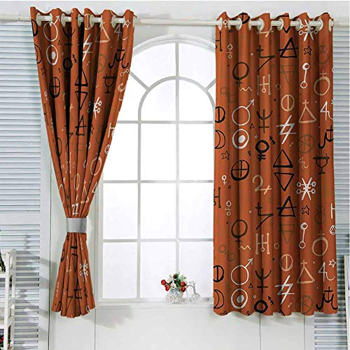 FreeKite Occult Patio Door Curtains for Bedroom Diverse Western Aztec Spiritual Alchemy Symbols Over Colorful Backdrop Powers Work of Art Thermal Insulated Noise Reducing W96 x L96 Inch Red (External Doors Patio Oak)