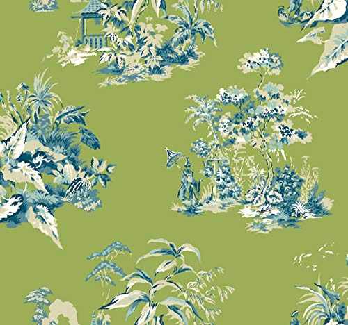 (York Wallcoverings AF1993 Ashford Toiles Oriental Scenic Removable Wallpaper Green/Blue)