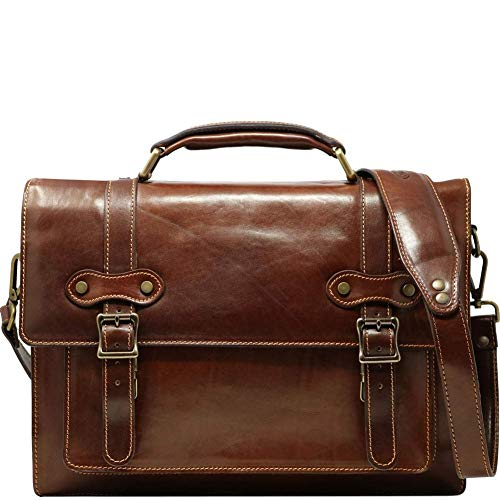 (Floto Trastevere Roller Buckle Leather Laptop Briefcase, Flapover Messenger Bag in Brown)