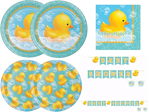 Rubber Ducky Baby Shower Deluxe Party Kit Includes Plates, Napkins and Shaped Ribbon Banner for 16 Guests - Ducky Dessert Plates