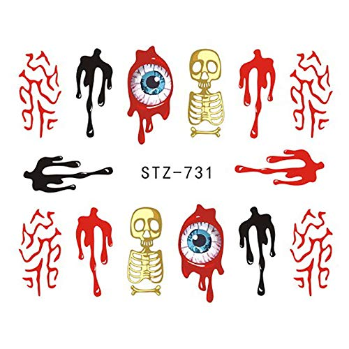Halloween Nail Sticker Nail Decoration Horror Design ()