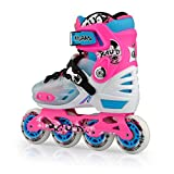Junior Kids Adjustable Inline Roller Skates in different colors and sizes (Pink, S 13-2)