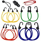 Bungee Cord Hook Assortment, 20 Piece Set 100% Latex- Elastic Heavy Duty Bungee Cord with Durable Hook 40'', 32'', 24'', 18'', 10''and 9'' Canopy Ties Tarp Clips Cargo Cord