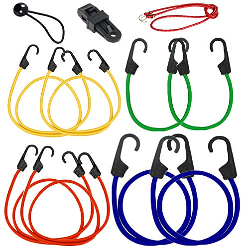 Bungee Cord Hook Assortment, 20 Piece Set 100% Latex- Elastic Heavy Duty Bungee Cord with Durable Hook 40'', 32'', 24'', 18'', 10''and 9'' Canopy Ties Tarp Clips Cargo Cord by Bicmte