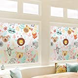 LANGUGU Animals Pattern Glass Non-Adhesive No Glue Static Decorative Privacy Window Films Children Kids Style Glass Sticker For Office Home Bedroom Glass Door Privacy (M SIZE)