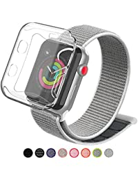 Compatible with Apple Watch Band 38mm 42mm with Case, Soft Breathable Lightweight Nylon Sport Loop, Adjustable Sport Loop Band Compatible with Apple Watch Series 3/2/1