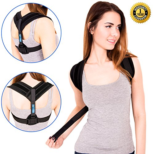 Back Posture Corrector - Kyphosis Brace - Adjustable Posture Brace - Posture Support for Women and Men - Best Posture Corrector - Figure 8 Brace Posture - Clavicle Brace - No slouching or Hunched Back
