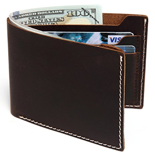 Fold Bi Distressed Leather (Leather wallet for men,Vaschy Vintage Genuine Leather Bifold Wallet Slimfold with 6 Card Slots Gift Box Coffee)