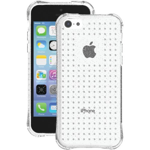 BALLISTIC  AGF Jewel Series Case for Apple iPhone 5C - Retail Packaging - Silver Glitter Clear (Ballistic 5c Jewel)
