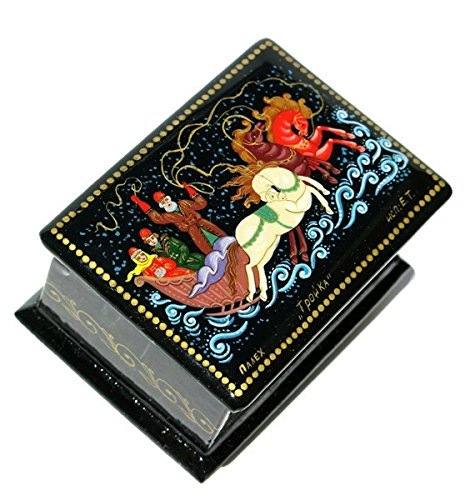 Troyka Russian Palekh Miniature Art Hand Painted Winter Horse Riding Lacquer Box
