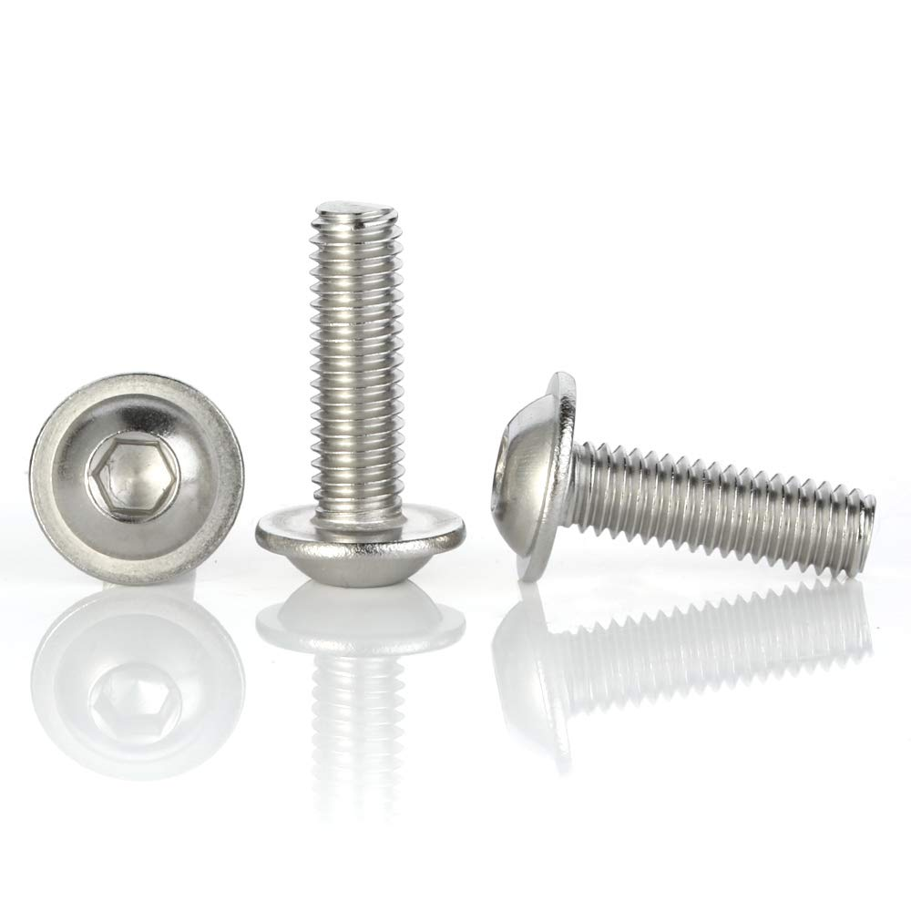 Full Thread 25 PCS Stainless Steel 304 Allen Socket Drive M6-1.0 x 30mm Flanged Button Head Socket Cap Screws