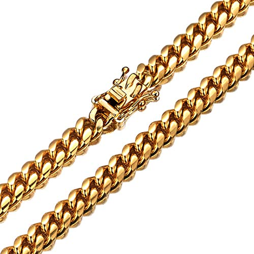 Jewelry Kingdom 1 Mens Necklace 18K Gold Chain Cuban Link Chain for Men's Jewelry, Necklace for Women, Top 316L Stainless Steel(22inches Length, 6MM Width Necklace) ()