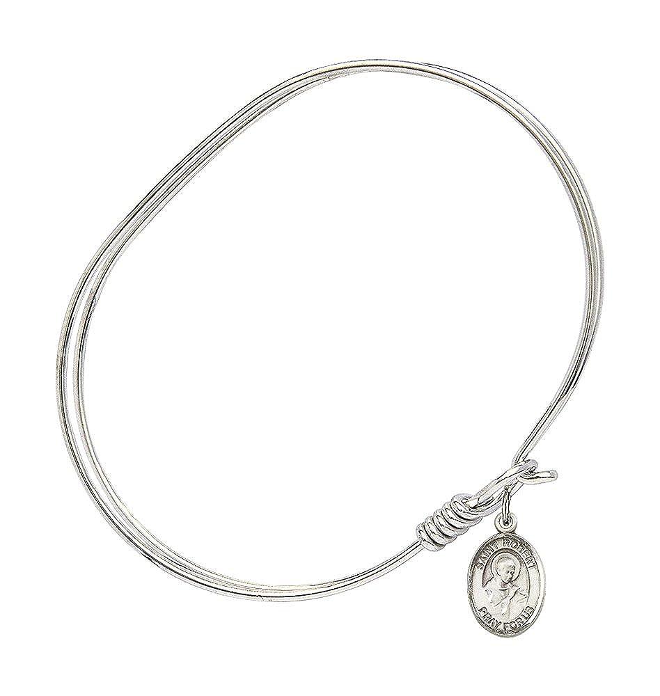 St Robert Bellarmine Charm On A 7 Inch Oval Eye Hook Bangle Bracelet