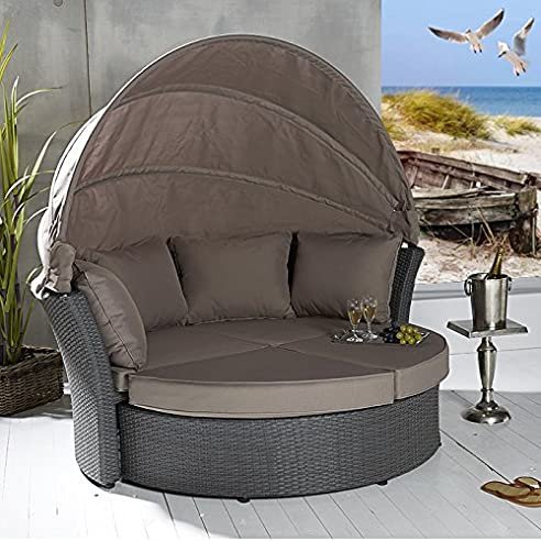 Rattan sonneninsel  POLY RATTAN Sonneninsel Terrassen Strandkorb Garten Lounge Liege ...