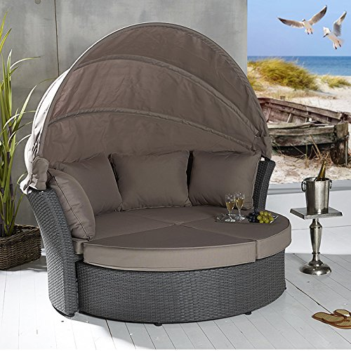 Rattan sonnenmuschel  POLY RATTAN Sonneninsel Terrassen Strandkorb Garten Lounge Liege ...
