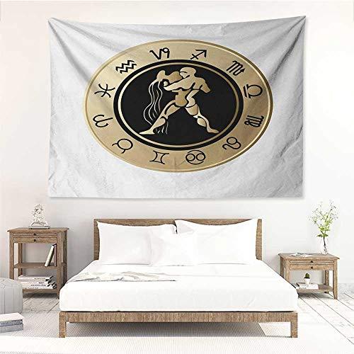 alisos Zodiac Aquarius,Tapestries Horoscope Chart with Twelve Signs Planets Sun Moon Spiritual Symbol 72W x 54L Inch Print for Living Room Bedroom Dorm Beige Gold Black