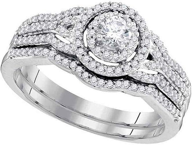 10k White Gold Womens Diamond 0.50 CT Wedding Engagement RING BAND SET Size 5-11