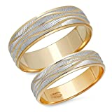 14K Solid White and Yellow Two Tone Gold His & Her's Matching Wave Design Wedding Band Ring Set (Choose a Size)