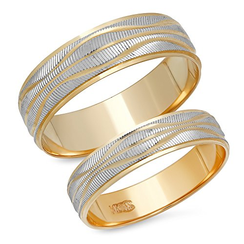 14K Solid White and Yellow Two Tone Gold His & Her's Matching Wave Design Wedding Band Ring Set (Choose a Size) (White Wave Design Gold)