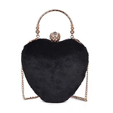 674c32611b9f Amazon.com  YSMYWM Women Faux Fur Heart Shape Handbag Tote Bag Shoulder Bag  Crossbody Bag Purse Evening Bag (Black)  Shoes