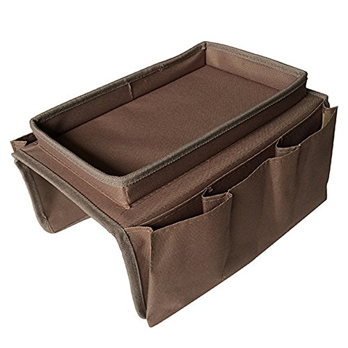 Sofa Armrest Organizer Couch Storage Bag with Cup Holder Tray TV Remote Control Caddy by YAHUIPEIUS (Brown)
