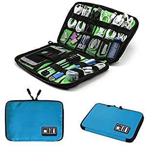Electronics Accessories Organizer Bag,Portable Tech Gear Phone Accessories Storage Carrying Travel Case Bag, Headphone Earphone Cable Organizer Bag (M-Blue)