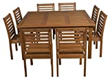 Cheap Amazonia 9-Piece Eucalyptus Armless Square Dining Set