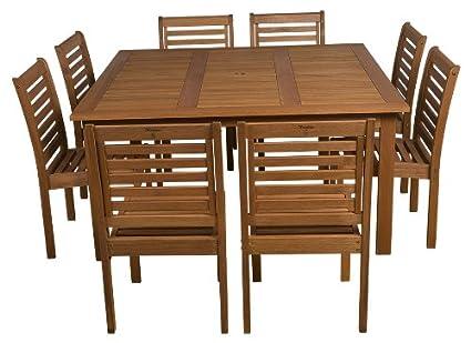 Amazonia 9 Piece Eucalyptus Armless Square Dining Set