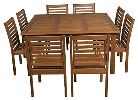 Amazonia 9-Piece Eucalyptus Armless Square Dining Set