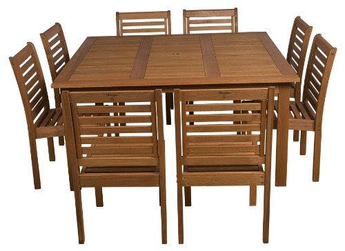 Cheap Amazonia 9-Piece Eucalyptus Armless Square Dining Set