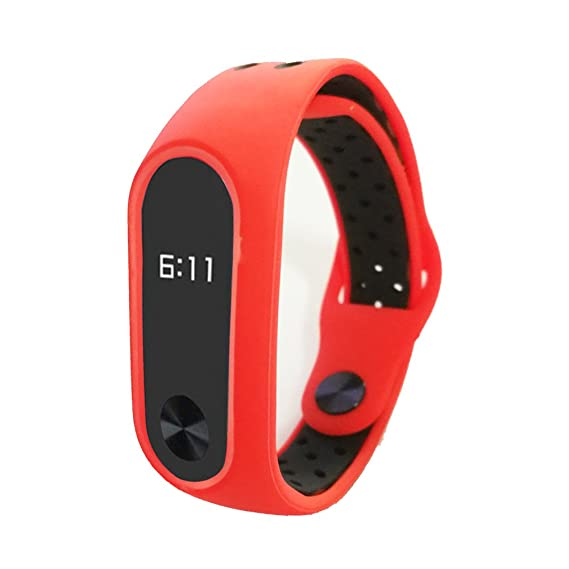 Budesi Waterproof Compatible Xiaomi Mi Fitness Tracker Bracelet  Accessories/Compatible Xiaomi Mi Band 2 Replacement Wristband Band Strap  (Red-Black)