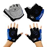 "GEARONIC TM New Fashion Cycling Bike Bicycle Motorcycle Shockproof Foam Padded Outdoor Sports Half Finger Short Gloves - Blue ""M"""