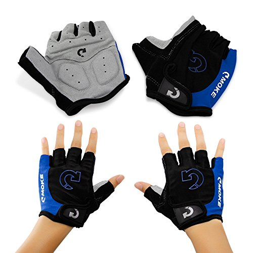 "GEARONIC TM New Fashion Cycling Bike Bicycle Motorcycle Shockproof Foam Padded Outdoor Sports Half Finger Short Gloves – Blue ""M"""