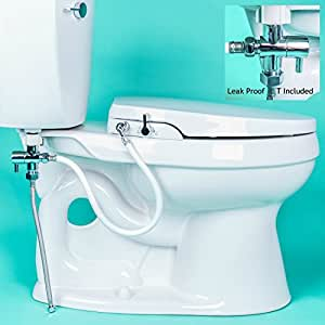 GenieBidet Seat - Self Cleaning Dual Nozzles. Rear & Feminine Cleaning - No wiring required. Simple 20-45 minute installation or less. Hybrid T with ON/OFF Included!