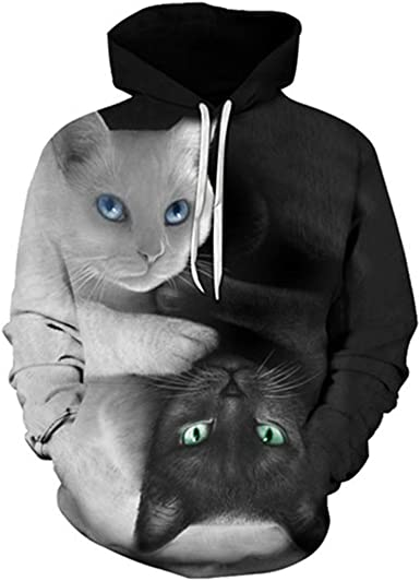 Fashion Loose Animal 3D Pullover Printed Sunglasses Cat Hip Hop Hoodies