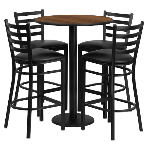 Flash Furniture 30'' Round Walnut Laminate Table Set with 4 Ladder Back Metal Barstools - Black Vinyl Seat (Dining Table Banquet Sets)
