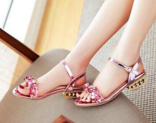 Easemax Damesmode Bloemen Open Teen Chic Buckled Mid-heels Enkelbandje Sandalen Roze
