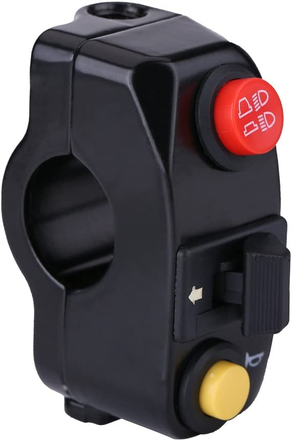 Anauto 7//8 Motorcycle Handlebar Mount Switches with Horn Turn Signal High Low Beam Control Black