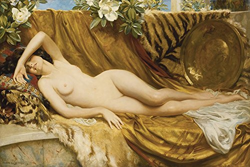 """THE TIGER SKIN NUDE WOMAN LYING DOWN PAINTING BY ALBERT HENRY COLLINGS 12"""" X 16"""" PRINT ON MATTE PAPER REPRO. WE HAVE OTHER SIZES"""