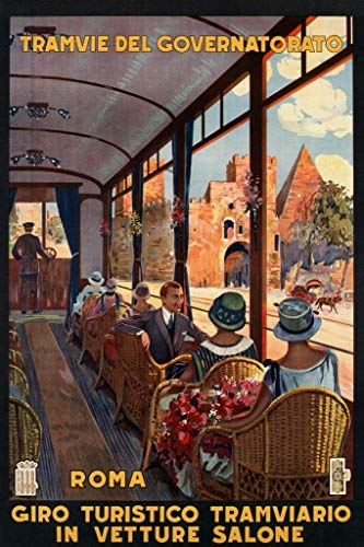Roma Rome Italy Italian Street Car Tourism Vintage Travel Poster 24x36 inch ()