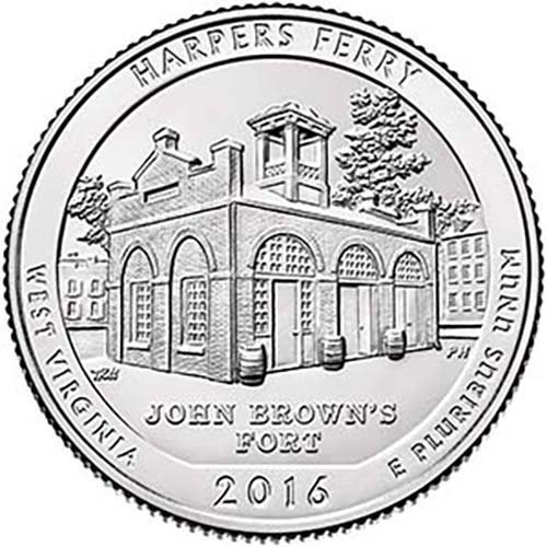 - 2016 S Silver Proof Harpers Ferry National Park Quarter Choice Uncirculated US Mint