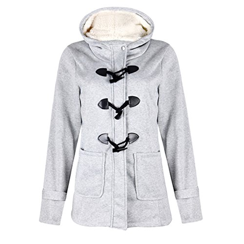 Lucao Womens Fashion Warm Coat Long-Sleeved Solid Color Hooded Horns Buckle Cotton Jacket Grey-2XL