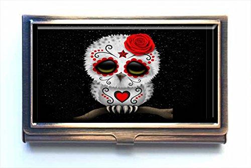 Caikem Sugar Skull owl Custom Personalized Stainless Steel Bronze Business Card Holder Pocket Business Name Credit Card ID Card Wallet by Caikem