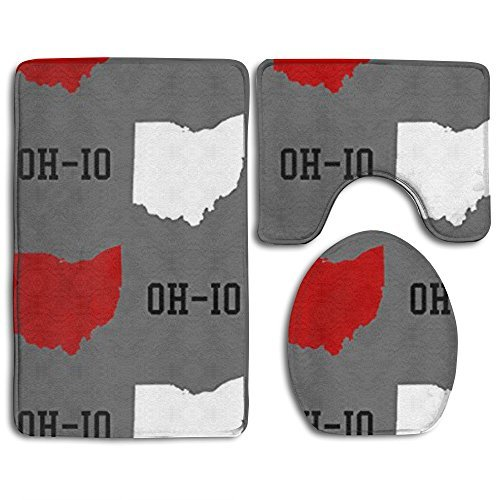 Huadduo Oh-Io State Gray 3 Piece Bath Mat Set Toilet Rug Bathroom Contour Mat Non-slip Washable Rubber Backing (Ohio State Bathroom)