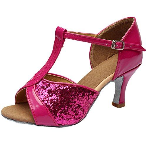 Azbro Mujer Zapato de Baile Latín Lentejuelas de Alto Tacón con Puntera Abierta Oscuro Color Piel