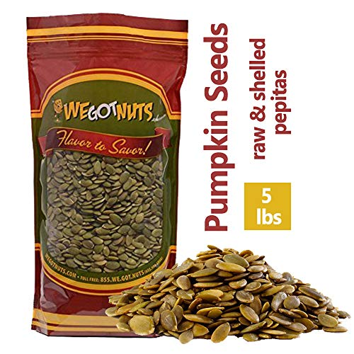 (We Got Nuts Pumpkin Seeds Healthy Snacks 5Lbs Bag | Raw Pepitas No Preservatives Added, Non-GMO, NO PPO, 100% Natural With No Shell | For Baking, Salad Toppings, Cereal, Roasting | Low Calorie Nuts,)